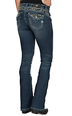 Miss Me Women's Medium Wash with Pyramid Studs & Sequins Flap Pocket Boot Cut Jean