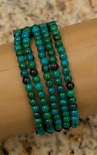 Pannee Dirty Green Teal Stone Multi-Row Beaded Black Leather Bracelet
