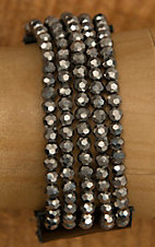 Pannee Hematite Crystal Multi-Row Beaded Black Leather Bracelet