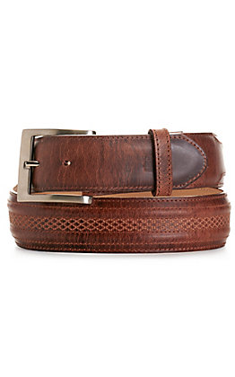 JRC & Sons Men's Tan Mad Dog Goat Leather Belt