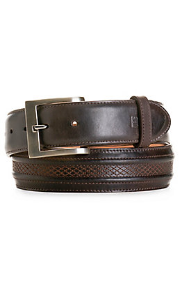JRC & Sons Men's Chocolate Brown Ranch Hand Leather Belt