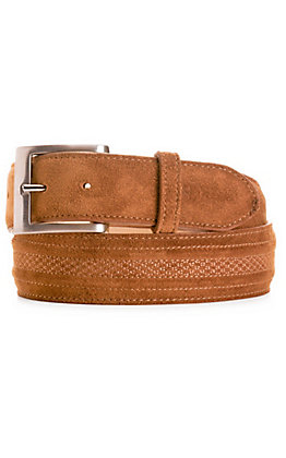 JRC & Sons Men's Tan Suede Leather Belt