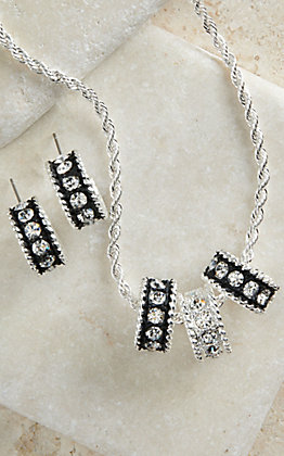 Montana Silversmiths Silver with Black Crystal Shine Necklace & Earrings Jewelry Set