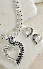 Montana Silversmiths Silver Heart with Black Inlay and Crystals Jewelry Set