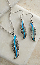 Turquoise Opal Feather Necklace Set