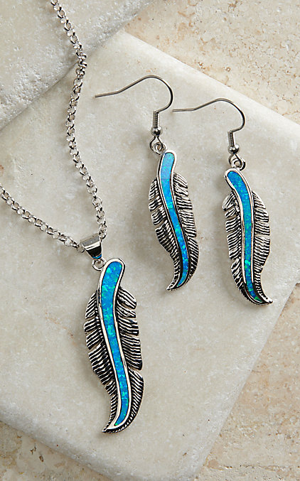 Montana Silversmiths Turquoise Opal Feather Necklace Set