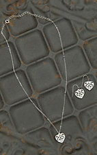 Montana Silversmiths Silver Scroll Heart Necklace & Earrings Jewelry Set