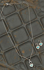 Montana Silversmiths Double Heart Opal Necklace & Earrings Jewelry Set
