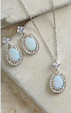 Montana Silversmiths Horseshoe with Opal Center Jewelry Set