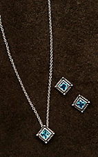 Montana Silver Smith Roped Blue Star Lights Jewelry Set