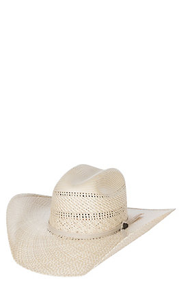Justin Bent Rail Two Tone Natural and Tan Vented Cattlemans Crown Straw Cowboy Hat