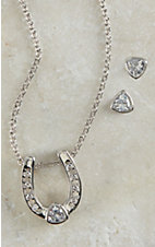 Montana Silver Smith Silver Lucky Trillion Treasure Horseshoe Jewelry Set