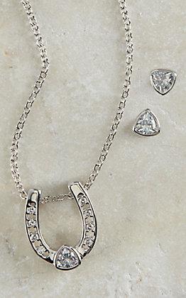 Montana Silversmiths Silver Lucky Trillion Treasure Horseshoe Jewelry Set