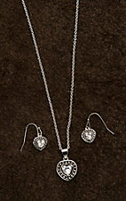 Montana Silver Smith Pin Point Framed Heart Jewelry Set