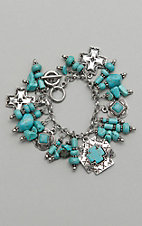 Amber's Allie  Turquoise and Silver Charm Bracelet