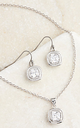Montana Silversmiths Squarely Brilliant Wrapped Necklace and Earring Jewelry Set
