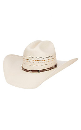 Justin Bent Rail 10X Ivory Warren Vented Cattleman's Crown Shantung Cowboy Hat