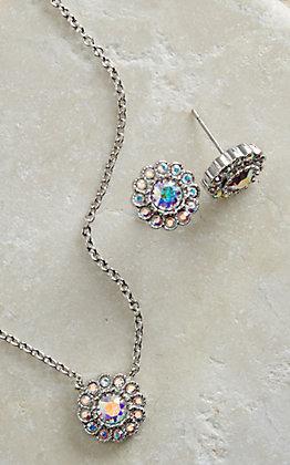 Montana Silversmiths Iridescent Floral Button Jewelry Set