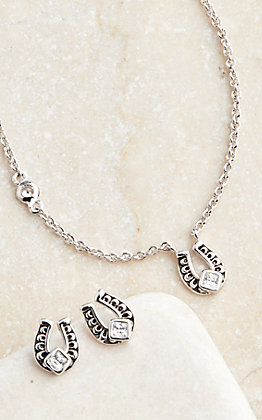 Montana Silversmiths Keep a Little Luck Horseshoe Necklace and Earring Jewelry Set