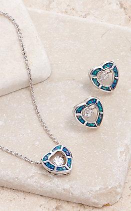 Montana Silversmiths River of Lights Dancing Opal Heart Jewelry Set