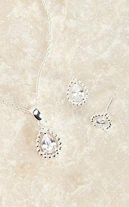 Montana Silversmiths Silver Arctic Rain Teardrop Jewelry Set