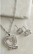 Montana Silversmiths Clear Rhinestone Heart Jewelry Set
