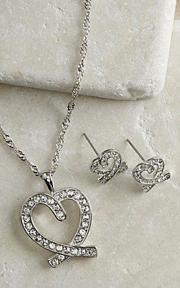 Montana Silversmiths Clear Rhinestone Heart Jewelry Set