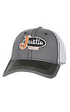 Justin Boots Grey Herringbone with Logo Patch Cap