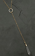 Pannee Gold Chain with Clear Drop Stone Y Necklace