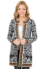Jealous Tomato Women's Black & White with Colorful Trim Long Sleeve Sweater Cardigan