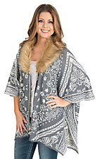 Jealous Tomato Women's Grey and Cream Print with Removable Fur Collar Long Sleeve Cardigan