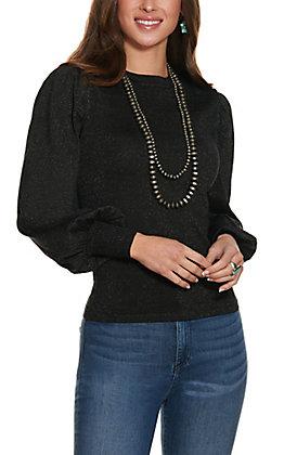 Jealous Tomato Women's Black Sparkle Knit Fashion Top