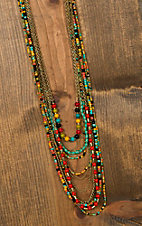Gold Chain with Multicolored Beads Long Layered Necklace JT336