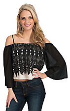 Jealous Tomato Women's Taupe with Black Lace Overlay Off Shoulder Top