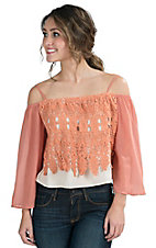 Jealous Tomato Women's Taupe with Coral Lace Overlay Off Shoulder Top