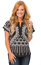 Jealous Tomato Women's Black Navajo Print Short Sleeve Top
