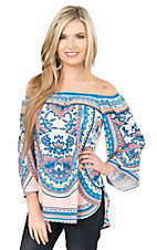Jealous Tomato Women's Cream with Blue and Orange Exotic Floral Print Long Sleeve Off The Shoulder Fashion Shirt