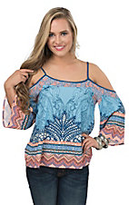 Flying Tomato Women's Light Blue with Multicolor Mixed Print Cold Shoulder 3/4 Sleeve Fashion Top