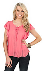 Jealous Tomato Women's Coral with Ruffled Cap Sleeves Fashion Top