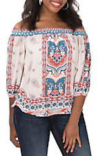 Jealous Tomato Women's White Paisley Print Off The Shoulder 3/4 Sleeve Fashion Top