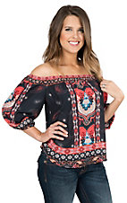 Jealous Tomato Women's Navy and Orange Paisley Print Off The Shoulder 3/4 Sleeve Fashion Top