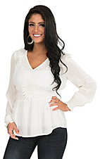 Jealous Tomato Women's White with ELastic Waist and Crochet Detailing Long Cinched Sleeve Fashion Top