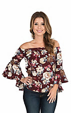 Jealous Tomato Women's Burgundy Floral Print Off The Shoulder with 3/4 Bell Sleeve Fashion Top
