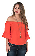 Jealous Tomato Women's Red Orange Ruffled Sleeve Off Shoulder Fashion Top
