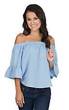 Jealous Tomato Women's Blue Ruffled Sleeve Off Shoulder Fashion Top