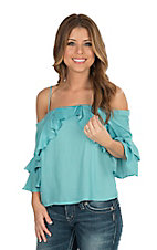 Jealous Tomato Women's Jade Satin Ruffle Cold Shoulder Fashion Top