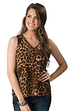 Karlie Women's Brown Leopard Chiffon Sleeveless Fashion Top