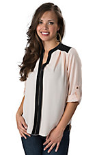 Karlie Women's Blush & Black Color Block V-Neck 3/4 Sleeve Fashion Top