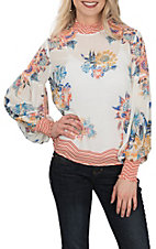Jealous Tomato Women's Ivory Floral Smock Neck L/S Fashion Shirt