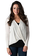 Karlie Women's Ivory with Lace Back Long Sleeve Wrap Front Top